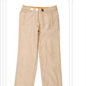 Tory Burch Linen Khaki Pants
